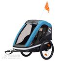 Daugiafunkcinis vežimėlis dviračio priekaba vaikui 2 vietė Hamax AVENIDA TWIN Petrol Blue