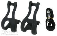 Kojų laikikliai pedalams su dirželiais ir tvirtinimo elemetais