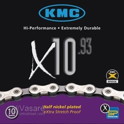 Chain KMC X-10, 6mm, 10 speed, 30 speed, silver/grey