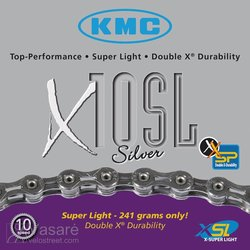 Chain KMC X-10 SL silver, 30sp. 228g. 112links 1/2 x 11/128