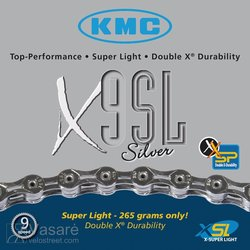 Chain KMC X-9 SL silver, 27sp. 116 links 237g. 1/2 x 11/128