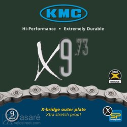 Chain KMC X9-73, 1/2x11/128, 116 links, missing link, 27 speed, single box