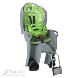 Child-seat rear Hamax Kiss grey/green with helmet