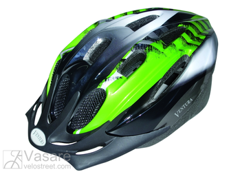 "Helmet for youth, size: M, 54-58 cm, green/black/white ""Mamba"