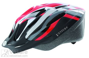 Helmet for youth, size: M, 54-58 cm, red/black/white/silver