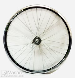 Rear wheel 28, 36 spokes, Velosteel hub with coaster brake, black