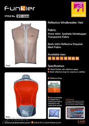 Reflective windbreak vest WV-1506XL