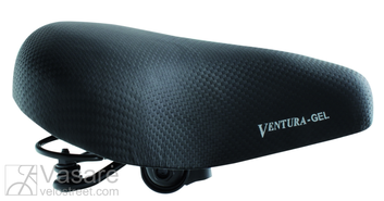 saddle VENTURA GEL with spring, with clamp, black