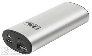 USB Powerbank Powerbank w/LED lamp, M-WAVE, input 5V/1A, output 5V/1A, w/1 white LED, silver, on card