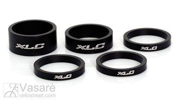"Vairo kolonėlės tarpiklių k-tas XLC A-Head 3x5, 1x10, 1x15 mm, 1,1/8"" juodi"