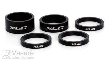 "Vairo kolonėlės tarpiklių k-tas XLC A-Head 3x5, 1x10, 1x15 mm, 1"" juodi"