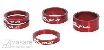 """XLC A-Head Spacer-Set AS-A02 3 x 5, 1 x 10, 1 x 15, 1 1/8"""" red"""